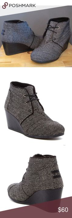 """NEW Toms Desert Black Herringbone Wedge Booties Brand new! Never worn! Size 6. Retail $90. Very comfy!   - Round toe - Lace-up vamp and closure - Allover herringbone pattern - Textured wedge heel - Approx. 2.5"""" wedge TOMS Shoes Ankle Boots & Booties"""