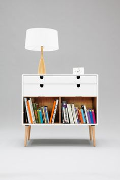 V commode in white lacquered soild board beech on Behance Pine Chests, Modern Dresser, Cubbies, Shelves, Drawer Fronts, Mid Century Design, Room Organization, Solid Oak, Floating Nightstand