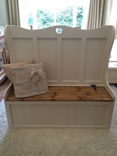 Monks bench/church pew with under seat storage would be an ideal place to store larger baking trays and platters.