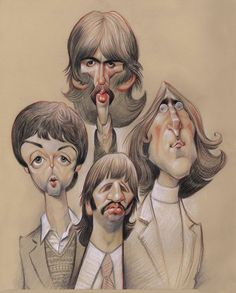 """Fine Art Print I call the """"Fab Four Sketch'' my """"therapy Beatles.'' It was the first sketch I did after breaking my arm in I had a wreck on my bike Foto Beatles, Les Beatles, Beatles Art, Funny Caricatures, Celebrity Caricatures, Character Drawing, Character Design, Caricature Drawing, Cartoon People"""