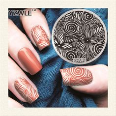 YZWLE 1 Sheet Stamping Nail Art Image Plate, 5.6cm Stainless Steel Template Polish Manicure Stencil Tools (YZWLE-08)