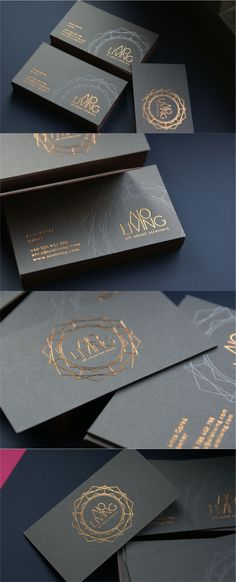 Luxury business cards with copper foil and deboss.                                                                                                                                                                                 More