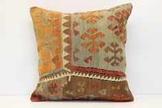 Bohemian Kilim pillow cover 20x20 inches Turkish by stripepattern