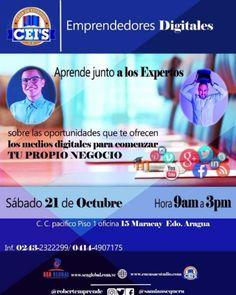 @SeaGlobalVe te invita:  Para ti que estás por emprender dos Especialista del mundo del Emprendiendo te enseñaran este Sábado 21 de Octubre todo lo referente a como proyectar tu negocio y emprendimiento a través de las redes sociales.  Tu inscripción incluye. Material Digital Certificado Impreso Refrigerio  Ven a y aprende junto a nosotros las oportunidades que te ofrecen los medios digitales para emprender tu negocio en la red.  #Venezuela #Caracas #Aragua #Maracay #Turmero #LaVictoria…