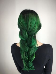 """Haley Banks (@hairbyhaleyb) of Atelier by Square Salon, Las Vegas, NV, says her new client found her on Instagram. """"Her previous hair was a dark brown she did herself. Previous colors had included black, red, and green over the past 7 years."""" It took Banks 7 and a half hours to turn her in to her desired emerald green. Here she shares the how-to: Step 1: Apply Rusk Elimin8 from mid shaft through ends (avoiding the uncolored root area). Place under heat with cap for 20 minutes. Shampoo three…"""