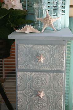 vintage wall paper on drawers with Duck Egg Chalk Paint