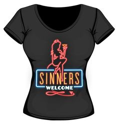 Neon Sinners Welcome Women's tshirt from Hot Rod Harlot Pin up rockabilly hot rod devil. $25 available in sizes SM & MD.