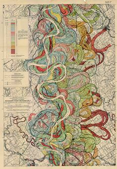 Beautiful examples of cartographic information design are on display at Radical Cartography. Like the sample above, my favorite are the maps designed by Harold Fisk in 1944 for the Army Corps of Engineers, showing the historical traces of the Mississippi River.