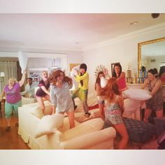 Pin for Later: The Sweetest and Silliest Celebrity Candids From 2014  The Pitch Perfect 2 cast had an epic pillow fight. Source: Instagram user annakendrick47