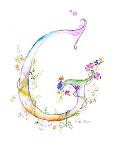 Letter G - Watercolor Monogram - Flower Lettering - Watercolor Letter Print…