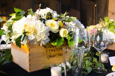 using the wine case as a centerpiece very cool