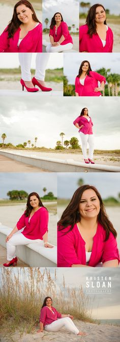 St Pete Beach Treasure Island Senior Portraits by Kristen Sloan Photography | What to wear to your Senior Photos Beach Pink