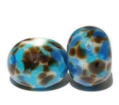 Chocolate Blues   Round Lampwork Bead Pair  by FireandFibers