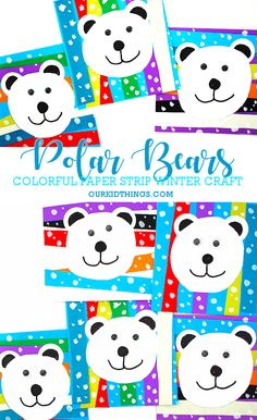20 Easy Snowman Crafts for Kids Paper Strip Polar Bears Craft Winter Activities For Kids, Winter Crafts For Kids, Winter Kids, Winter Snow, Bear Crafts Preschool, Kindergarten Crafts, Polar Bear Crafts, Winter Art Kindergarten, Preschool Winter