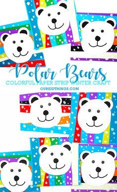 20 Easy Snowman Crafts for Kids Paper Strip Polar Bears Craft Winter Art Projects, Winter Crafts For Kids, Winter Kids, Winter Snow, Kids Crafts, Kindergarten Crafts, Preschool Art, Polar Animals Preschool Crafts, Winter Art Kindergarten