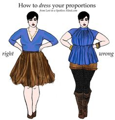 Lines in an outfit - How to DRESS for your proportions (Left Pix) -=Right and (Right Pix) -= Wrong clothes Trend Fashion, Look Fashion, Fashion Beauty, Girl Fashion, Moda Mania, Moda Feminina Plus Size, Apple Body, Diy Vetement, Mode Plus