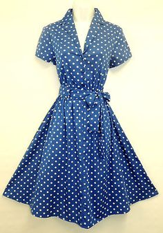 This stunning 1940 s vintage inspired Tea dress is Royal Blue with cute polka dots Soft fitted elastic waist button to waist shirt style bodice Land