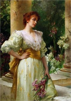 """""""Lady With Flowers' by Conrad Kiesel who was a German artist"""