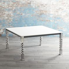 Mallorca Square White Top Dining Table  | Crate and Barrel