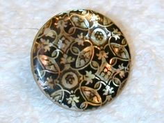 Fabulous Antique Iridescent Mother of Pearl Shell Button W Transfer