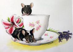 Lily and Lavender - watercolour mouse portrait Christmas Paintings, Enamel Jewelry, Archer, Pet Portraits, Watercolour, Lavender, Lily, Pets, Silver