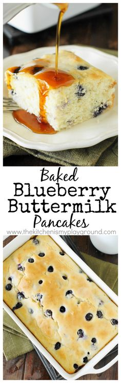 Fluffy Baked Blueberry Buttermilk Pancakes ~ done in a baking dish in the oven, no standing at the stove & flipping required! www.thekitchenismyplayground.com