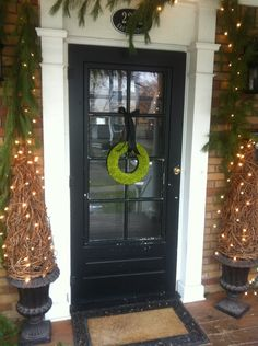 Black front door, white trim...nice.