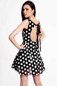 Boutique Emily Sequin Polka Dot Tie Back Dress at boohoo.com