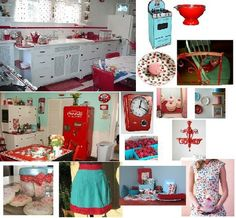 How's that for some aqua and red kitchen love? by susan.dewald.56