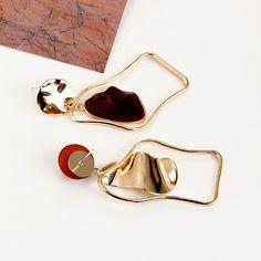 Geometric Statement Drop Earrings – klozetstyle.com Bow Earrings, Unique Earrings, Fashion Earrings, Statement Earrings, Fashion Jewelry, Handmade Hair Accessories, Wedding Accessories, Women Accessories, Jewelry Accessories