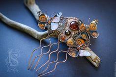 """Купить Гребень """"Июльский полдень"""" - оранжевый, гребень для волос, медный гребень, wire wrap"""