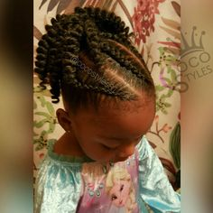"""The double puffs had to go Back to protective styling! Quick 20min style. #braidsandbeads #kidsbraids #crochetbraids #naturalhair #crochetweave…"""