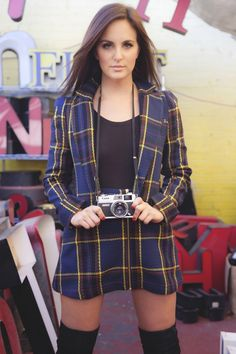 Caitlyn Chase wearing a plaid blazer and plaid skirt by Naven on the C&C Blog. 90's trend.