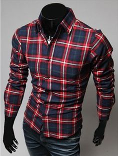 Willstyle Men's Casual Long Sleeve Navy/Red