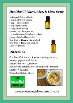 Healthy Chicken, Rice, & Lime Soup made with doTERRA's lime and thyme essential oils from ONE essential COMMUNITY