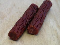 salami sticks: 1 1/2 pounds of ground meat 1/4 cup of brown sugar 1/8 teaspoon of garlic powder 1 1/2 tablespoons of Morton's Tender quick salt 3/4 tablespoon of liquid smoke A dash of red pepper