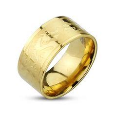 Gold Plated Dragons Etched Band Ring, Men's