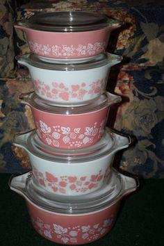 Vintage Pyrex Complete 10 Piece Gooseberry Pink Casserole Set