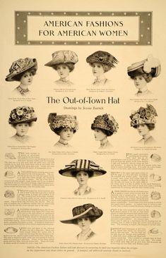 1910 Hats for Women, Illustrations by Jessie Barrick. Historical Costume, Historical Clothing, Belle Epoque, Edwardian Fashion, Vintage Fashion, Edwardian Era, 1900s Fashion, Medieval Fashion, Victorian Hats