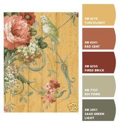 ― Eades Discount Wallpaper & Discount Fabric LOVE the vibrant colors! Indoor Paint Colors, Interior Paint Colors, Paint Colors For Home, House Colors, Discount Wallpaper, Living Colors, Paint Color Schemes, Sherwin William Paint, House Paint Exterior