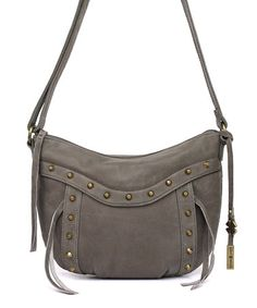Take a look at this Smoke Studded Leather Crossbody Bag on zulily today!