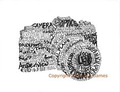Word Art Camera Art Print, Photography Art Camera Typography Calligram Illustration or Pen and Ink Calligraphy Drawing, Typography Art Print