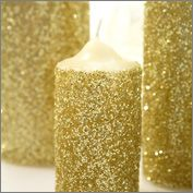 diy glitter candles I WANT TO DO THIS WITH EPSOM SALT AND SILVER GLITTER