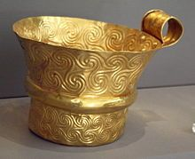 Triskelion - Gold cup from Mycenae decorated with triskelions, in the National Archaeological Museum of Athens.