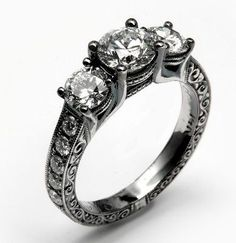 Engagement Ring with Black Rhodium Finish by Calla Gold Jewelry  gunmetal grey is as good as black