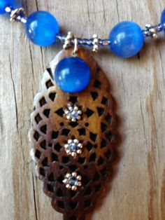 Blue Cat's Eye and Wooden Leaves Necklace and by BeriMadeJewelry, $22.00