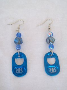 Blue Rockstar Pop Tab Earrings by ENERGYearrings on Etsy, $5.00