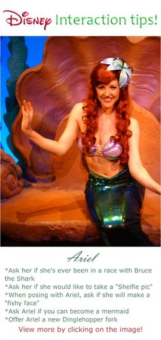 What to say to Ariel at a Disney World Character interaction meet and greet #disney #world #characters #tips