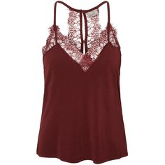 LACE SINGLET Vero Moda ($32) ❤ liked on Polyvore featuring tops, lace tank tops, v neck tank, red tank, v neck tank top and sleeveless tank