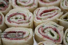 gevulde wraps salami Birthday Snacks, Buffet, Creme Fraiche, High Tea, Sweet 16, Tapas, Doughnut, Sushi, Ethnic Recipes